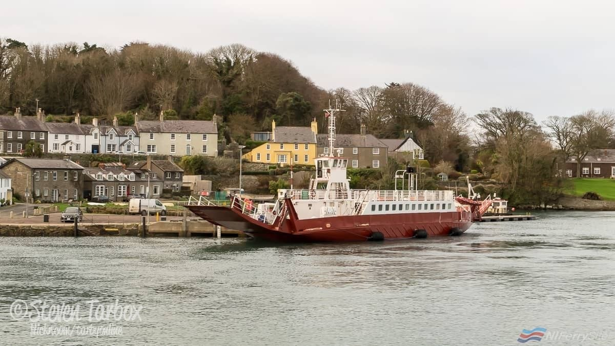 STRANGFORD FERRY freshly repainted in her new red livery in advance of her move to the Arranmore (Red) Ferry service off the West Coast of Donegal. © Steven Tarbox.