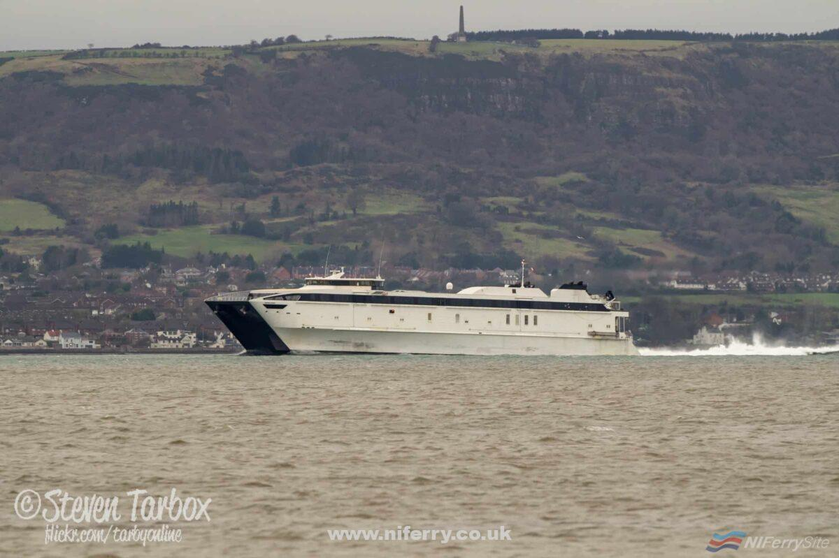 WESTPAC EXPRESS in Belfast Lough approaching Belfast for the first time, where she is to be converted and refurbished for use as a civilian ferry. Copyright © Steven Tarbox