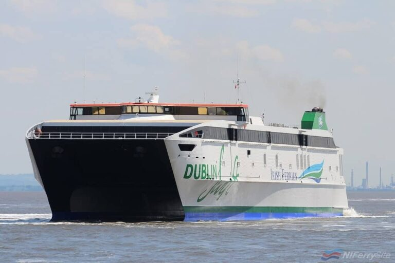 "Irish Ferries DUBLIN SWIFT leaves Cammell Laird Birkenhead on May 23rd 2019 following a planned dry docking for ""mechanical upgrades"". Copyright © Das Boot 160 Photography."