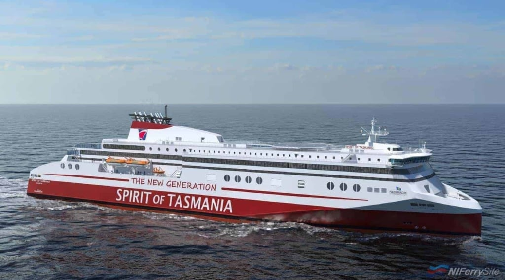 "A rendering of how the new TT-Line ""Spirit of Tasmania"" new builds will look. FSG."