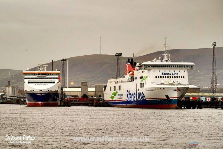 STENA PRECISION and STENA LAGAN berthed at Belfast's Victoria Terminal 2 and Victoria Terminal 4 respectively. Copyright © Steven Tarbox.