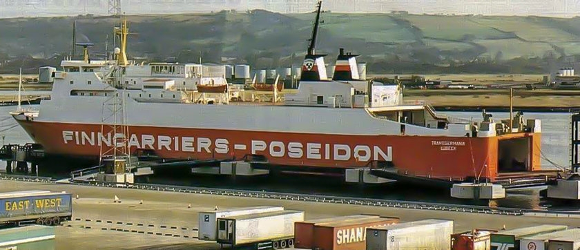 An early Norse Irish Ferries publicity image showing TRANSGERMANIA at the new Victoria Terminal 2 terminal built by Belfast Harbour Commissioners specifically to attract a new operator for the Belfast to Liverpool service