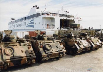 WESTPAC EXPRESS loading military vehicles. Austal
