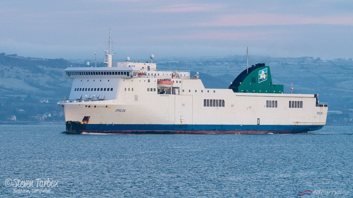 Irish Ferries EPSILON approaches Belfast Harbour on her way to Harland & Wolff for her 2018 dry docking. Copyright © Steven Tarbox
