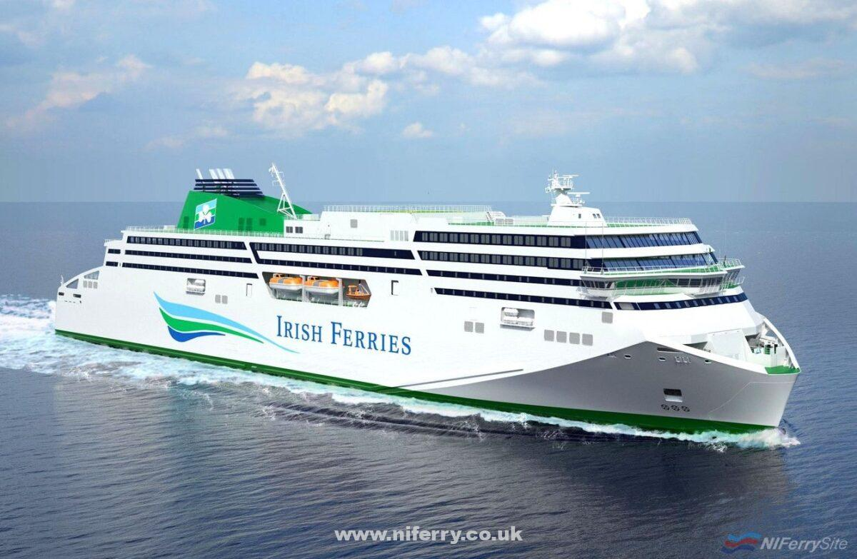 Rendering of Irish Ferries W.B. YEATS which was produced prior to the name of the new vessel being announced. Copyright © Irish Ferries