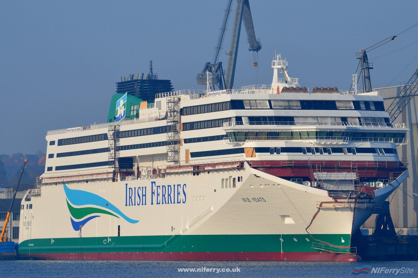 Irish Ferries W.B. Yeats shown under construction at the Flensburger shipyard on 9th February 2018. The previous day the aft section was lifted into place completing the lift of the superstructure onto the hull. Copyright © Frank Jensen.