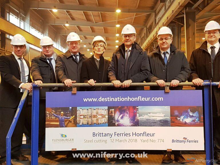 The steel cutting ceremony for HONFLEUR, 12th March 2018. From L-R: Dirk Hemsen, Project Manager FSG; Arnaud Le Poulichet, Technical Director, Brittany Ferries; Rüdiger Fuchs, CEO, FSG; Corinne Vintner, Legal Director, Brittany Ferries; Christophe Mathieu, CEO, Brittany Ferries; Frédéric Pouget, Fleet, maritime and port operation Director Brittany Ferries; Brice Robinson, Naval Projects Manager, Brittany Ferries. Brittany Ferries