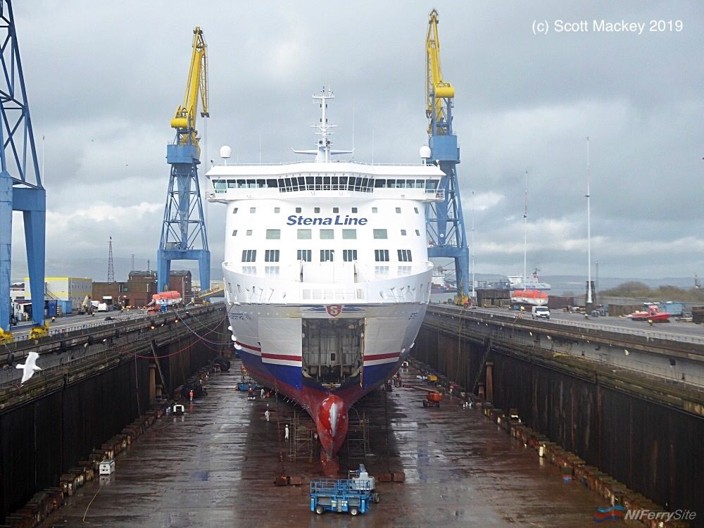STENA SUPERFAST VIII seen in Belfast Dry Dock in early March 2019 before repainting was completed. Copyright © Scott Mackey.