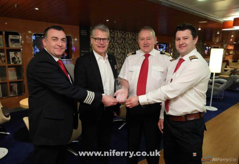 Stena Line CEO Niclas Martensson presented the team on Stena Superfast VIII with the Scandinfo trophy for 2017. Pictured with Niclas are, Senior Master George Combe (2nd from right), Onboard Sales & Services Manager Norris McLean (left) and Chief Engineer Conor Murphy (right) with the much sought-after trophy. Stena Line