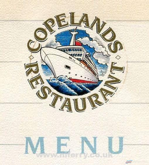 Crop of the cover of a menu from Belfast Ferries/Belfast Car Ferries ST COLUM I. Copyright © NIFerrySite Archive.