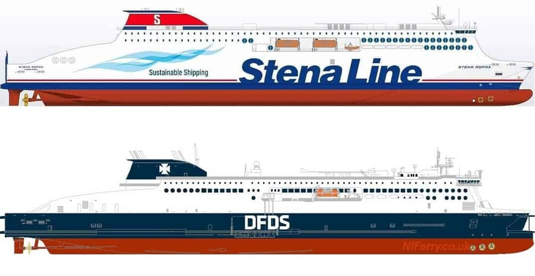 Side profile drawing of the standard Stena E-Flexer Ro-pax design as released by Stena Line at the time of ordering from AVIC Weihai in China, with the rendering released today from DFDS. Image: Stena Line/DFDS edited by niferrysite.