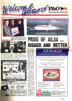 "Photograph of the front page of P&O's ""Welcome Aboard"" onboard newsletter from 1992, featuring the introduction of PRIDE OF AILSA. NIFS archive."