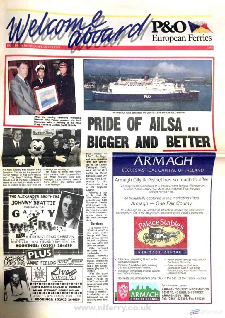 Photograph of the front page of P&O's