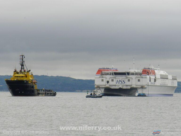HSS STENA VOYAGER being towed from Belfast by the tug AGAT. Copyright © Scott Mackey.