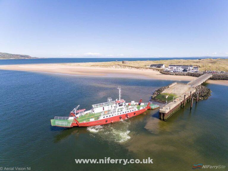 STRANGFORD conducting sea trials across Lough Foyle between Greencastle and Magilligan. The former Strangford Lough ferry will cover the service over the Early-May Bank Holiday period in the absence of the regular vessel, FRAXER MARINER. Copyright © Aerial Vision NI.
