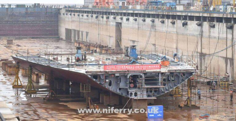 The keel laying of Stena's second E-Flexer RoPax at AVIC Weihai in China. When delivered this vessel will be deployed on the busy Belfast to Liverpool (Birkenhead) route. Stena Line / Duffy Rafferty Communications