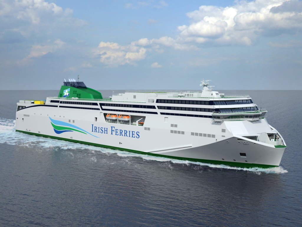 Rendering of Irish Ferries currently unnamed second FSG new-build ferry. She is expected to enter service on the Dublin - Holyhead route in mid-2020. Irish Ferries