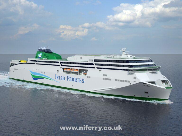Rendering of Irish Ferries currently unnamed second FSG new-build ferry. When ordered she was expected to enter service on the Dublin - Holyhead route in mid-2020. Irish Ferries