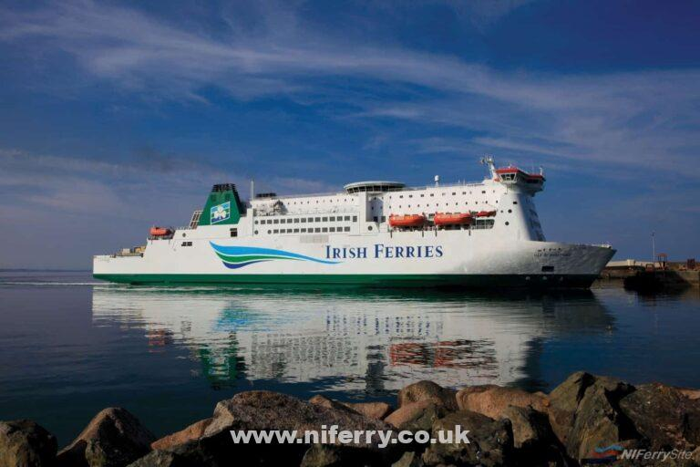 Irish Ferries' ISLE OF INISHMORE. Originally built for the Dublin to Holyhead route, she moved to the Rosslare - Pembroke Dock (Milford Haven) route after being replaced by ULYSSES