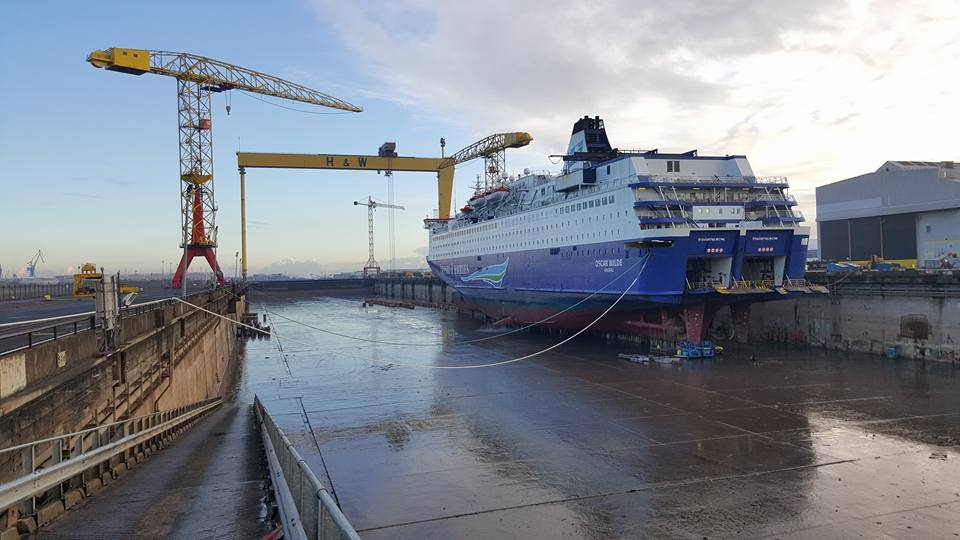 Irish Ferries' OSCAR WILDE in Harland & Wolff's building dock in February 2016. Copyright © Gary Hall.