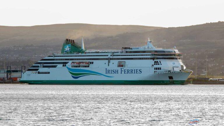 Irish Ferries ULYSSES leaves Belfast after spending almost a month in dry dock. Copyright Steven Tarbox