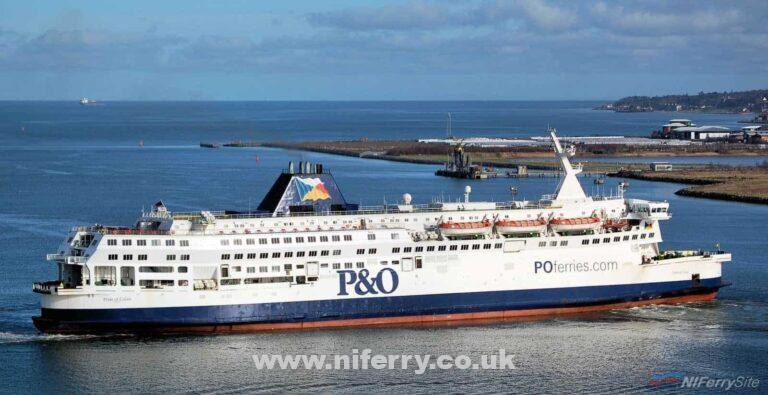 P&O's PRIDE OF CALAIS swings towards Belfast Lough having just left Belfast Dry Dock, 18.02.17. Copyright © Alan Geddes.