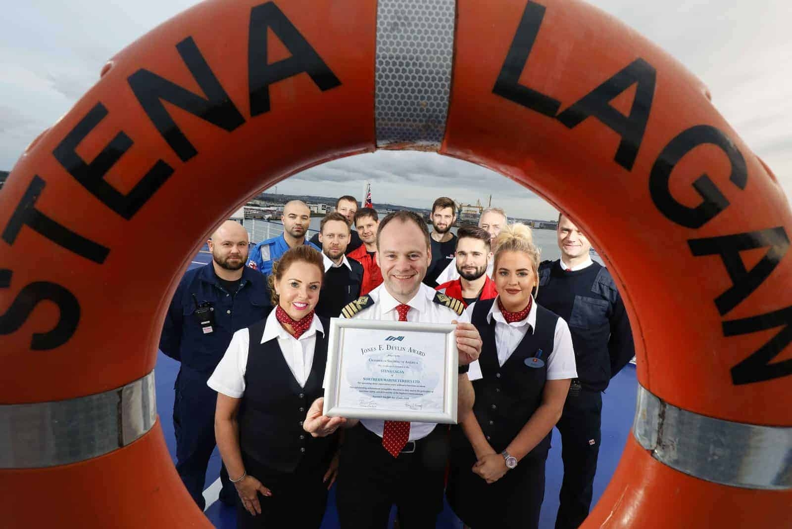 Captain Steve Millar and crew members from the Stena Lagan celebrate receiving the prestigious Jones F. Devlin Award from the Chamber of Shipping of America (CSA) for operating three consecutive years without a lost-time accident. ©Press Eye/Darren Kidd