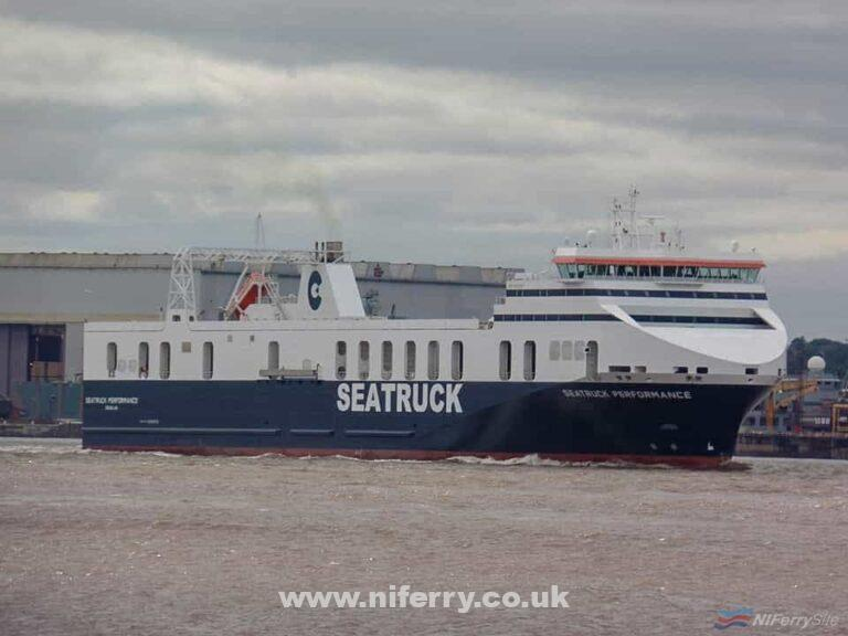 The freshly repainted and renamed SEATRUCK PERFORMANCE makes her way across the Mersey from Cammell-Laird to Langton Lock, 28.08.18. Copyright © Rob Foy (Facebook Page)