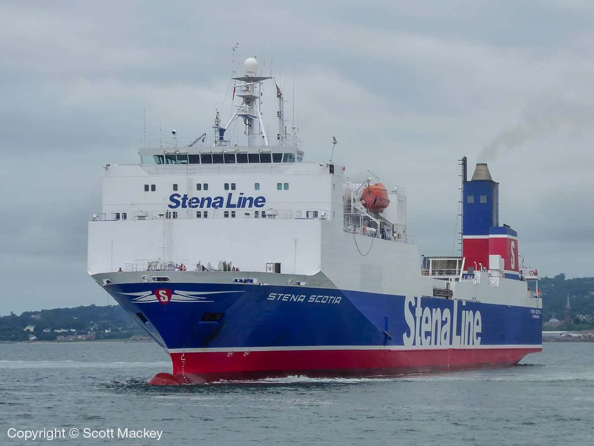 STENA SCOTIAarrives in Belfast from Holland on 03.08.18. Copyright © Scott Mackey.