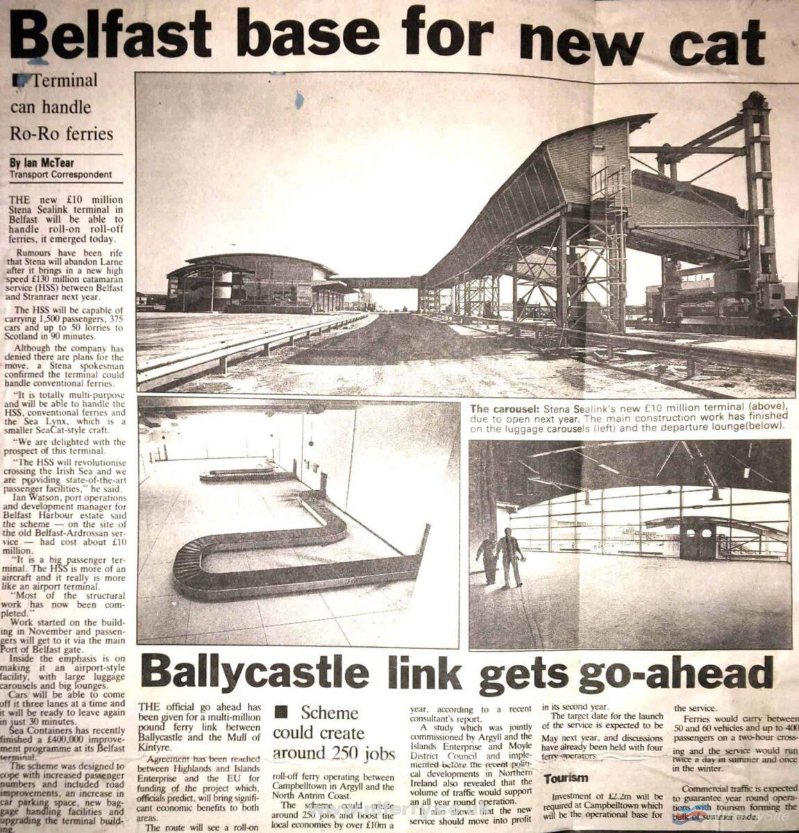 Newspaper article from the Belfast Telegraph about the then new Stena Line terminal at Albert Quay in Belfast. NIFS Archive,