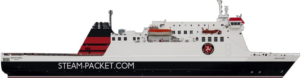 Side profile drawing of BEN-MY-CHREE as rebuilt. Copyright © Steven Tarbox