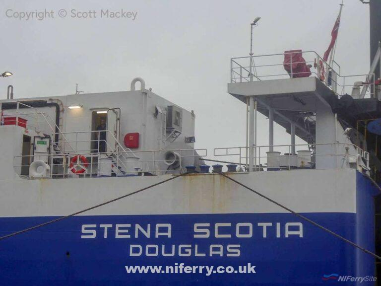 Closeup of the stern of STENA SCOTIA showing her flag change from the Netherlands to the Isle of Man. Copyright © Scott Mackey.