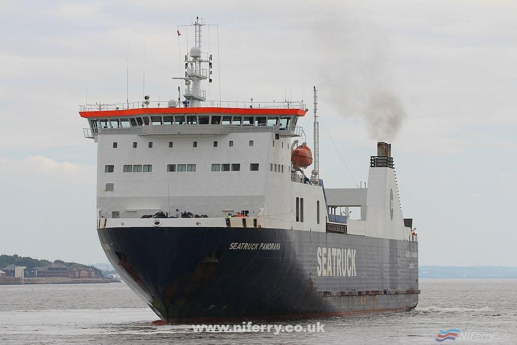 SEATRUCK PANORAMA is seen at the West Float, Birkenhead, on her way to the Wet Basin at Cammell-Laird, 1st Sept 2018. Copyright © Das Boot 160. Flickr.