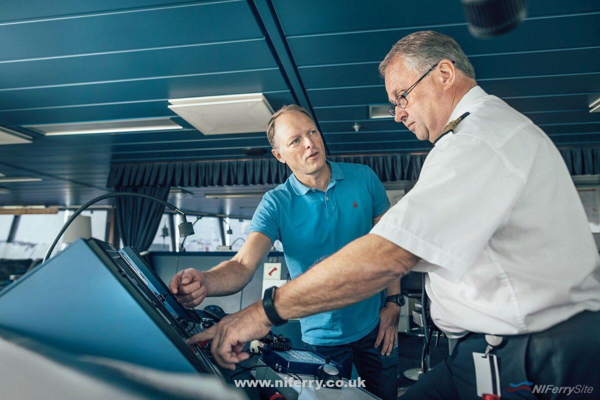 Stena Line's Head of AI Lars Carlsson and Senior Master Jan Sjöström discussing the new AI-model onboard STENA SCANDINAVICA. Stena Line