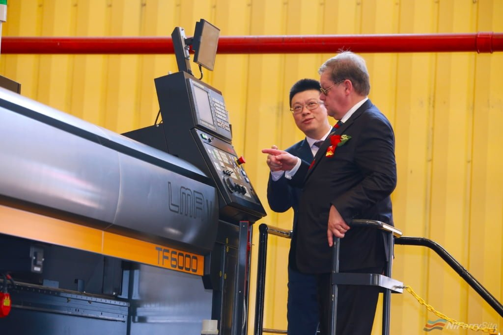 Lin Qin, CEO Xiamen Shipbuilding Industry Co and Jan Hanses, CEO, Viking Line pushing the button to start Steel Cutting for Viking Line's new vessel. Viking Line