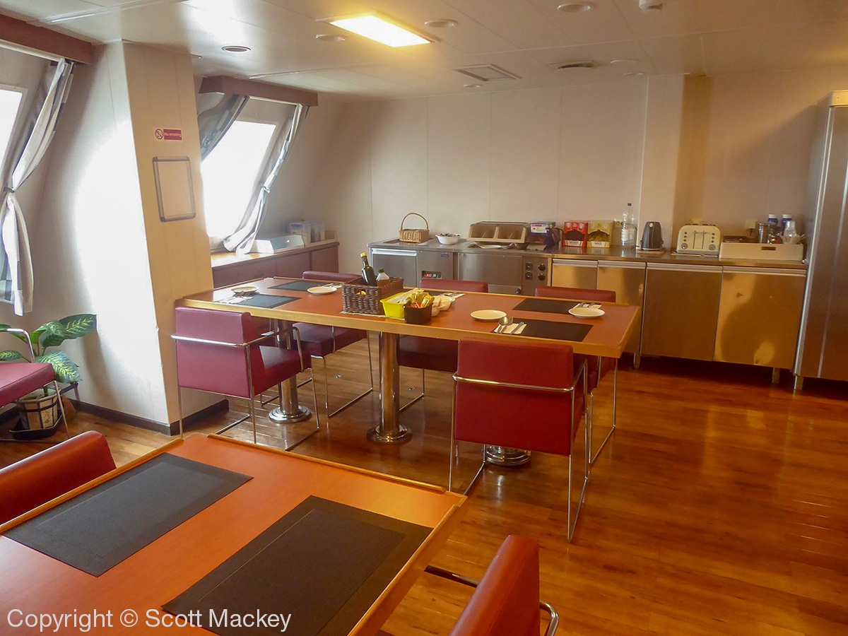 The drivers mess/dining room onboard STENA FORERUNNER. Copyright © Scott Mackey.