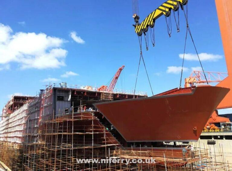 One of the hull sections of the first Stena E-Flexer Avic Weihai W0263 is hoisted into position. AVIC