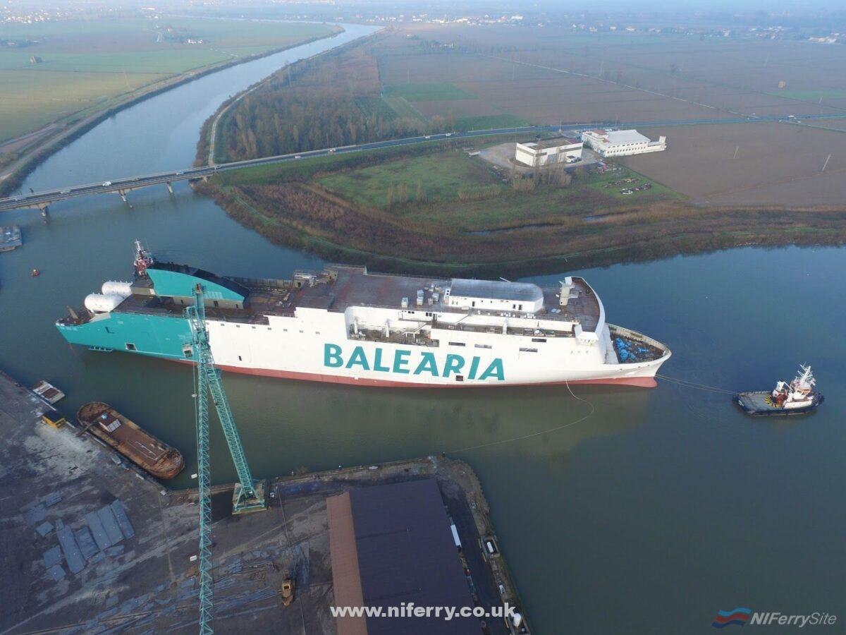 Balearia's MARIE CURIE pictured shortly after floating out at Visentini on 28th November 2018. Balearia.