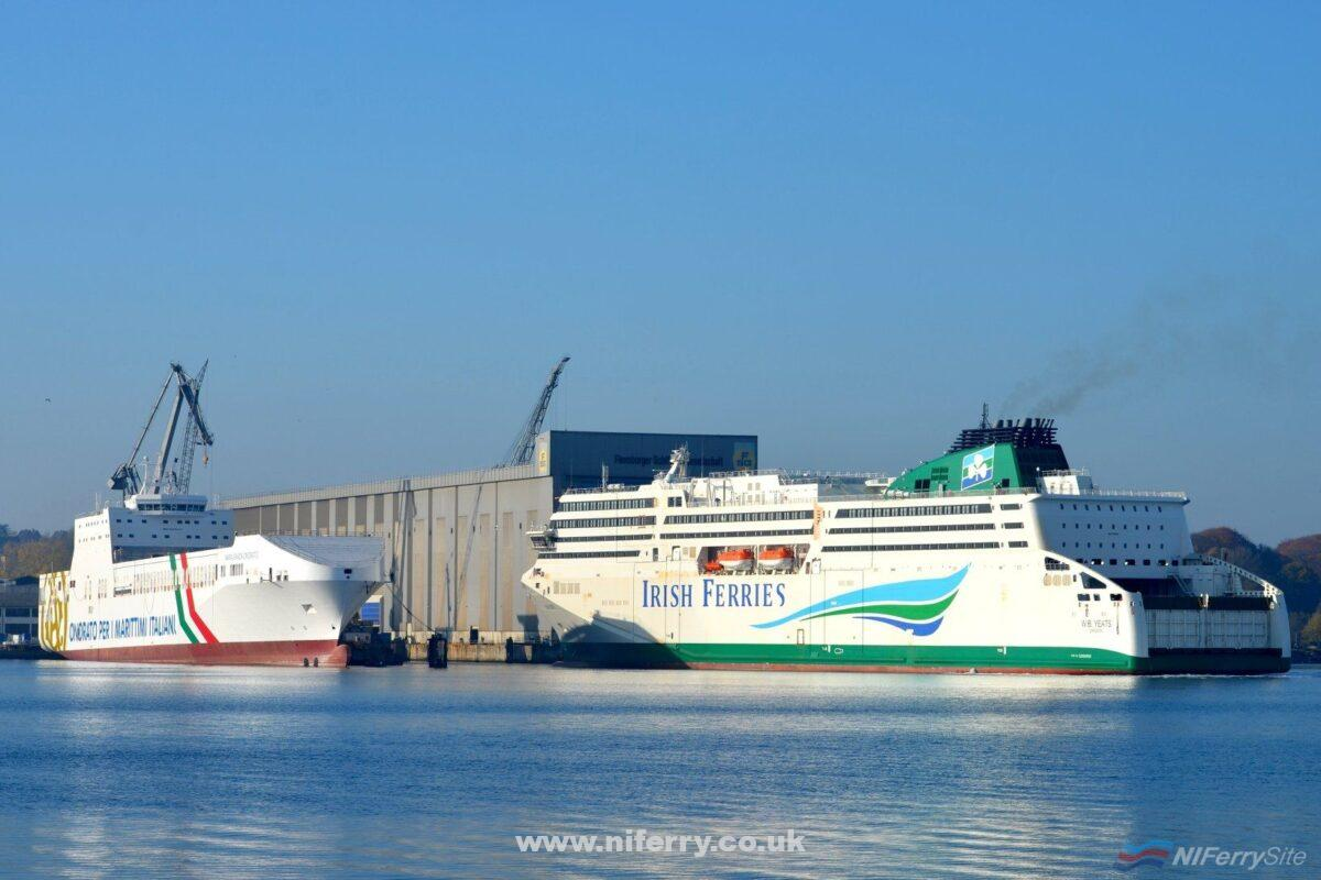 Irish Ferries new German-built RoPax W. B. YEATS returns to FSG on 07.11.18 following sea trials off the Danish Coast. Tirrenia's MARIA GRAXIA ONORATO is seen moored at the outfitting pier Copyright © Frank Jensen.