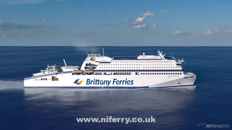 One of a series of renders of HONFLEUR at sea released by Brittany Ferries on the day her hull was launched, 14th December 2018. Brittany Ferries.