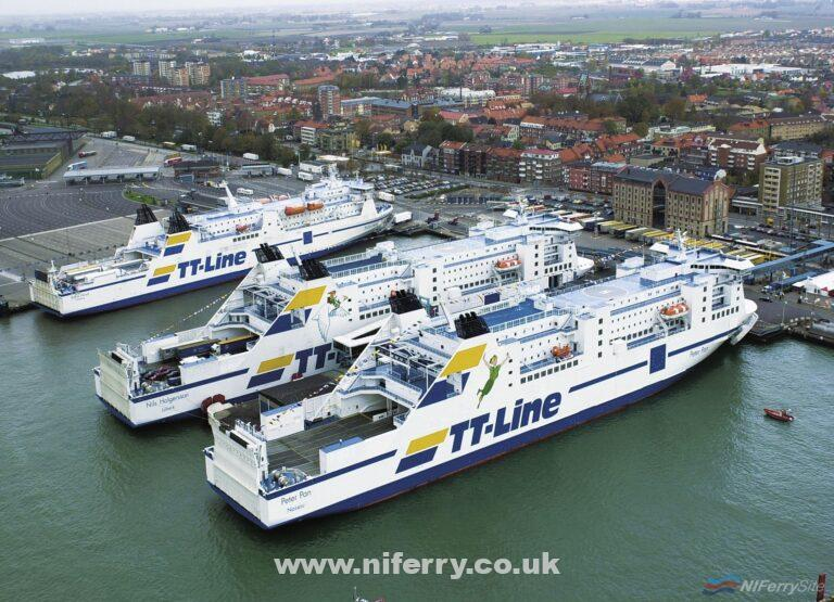 Three TT Line ships together in the Swedish port of Trelleborg. TT Line