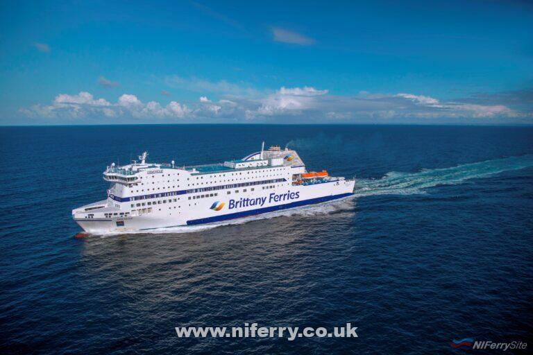Brittany Ferries ARMORIQUE wearing the new logo and livery for the 2019 season. Brittany Ferries.
