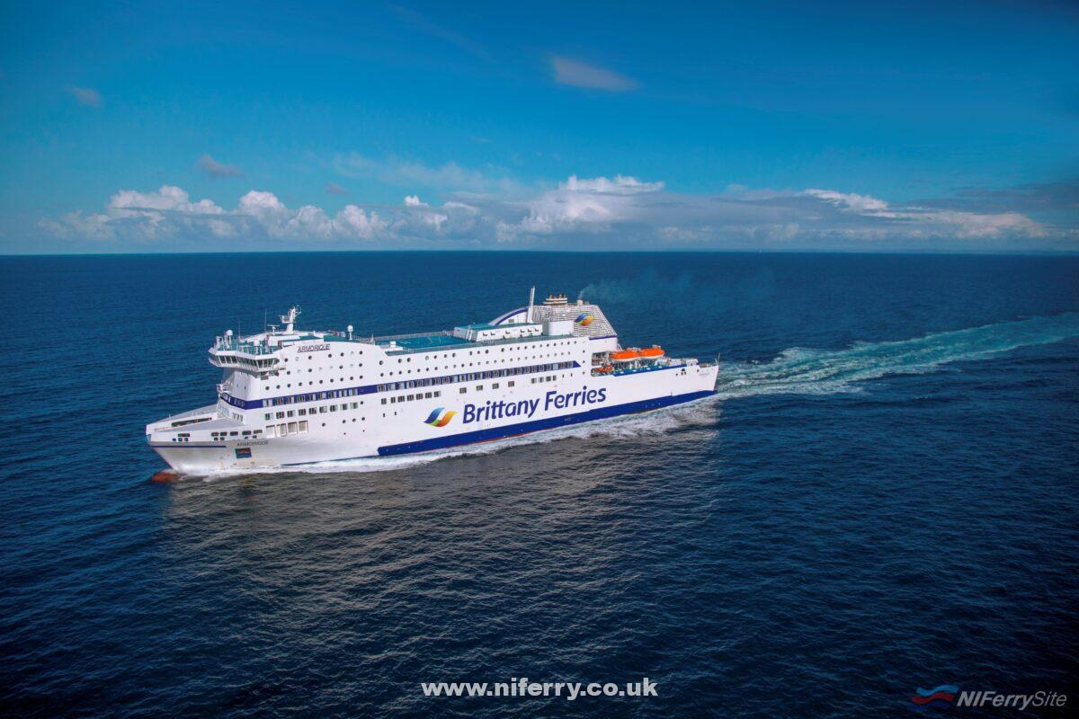 An artists impression of ARMORIQUE in the revised Brittany Ferries livery. Brittany Ferries