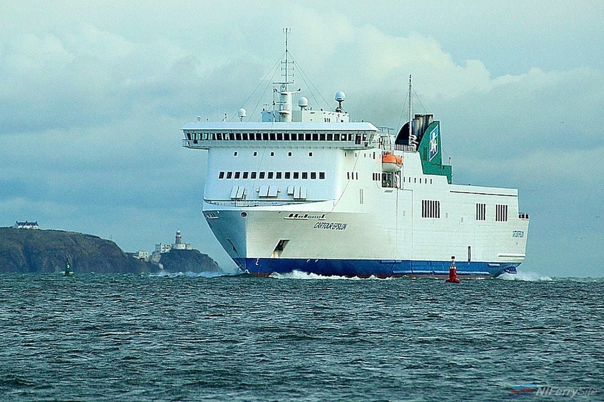 Prior to February 2014 Irish Ferries chartered Ro-Pax EPSILON still carried the name CARTOUR EPSILON as seen in this photo taken soon after her introduction to Irish Ferries service in late 2013. Copyright © Gordon Hislip.