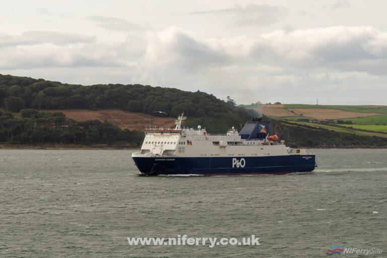 EUROPEAN CAUSEWAY approaches Cairnryan during August 2018 at the end of another sailing from Larne. Copyright © Steven Tarbox.
