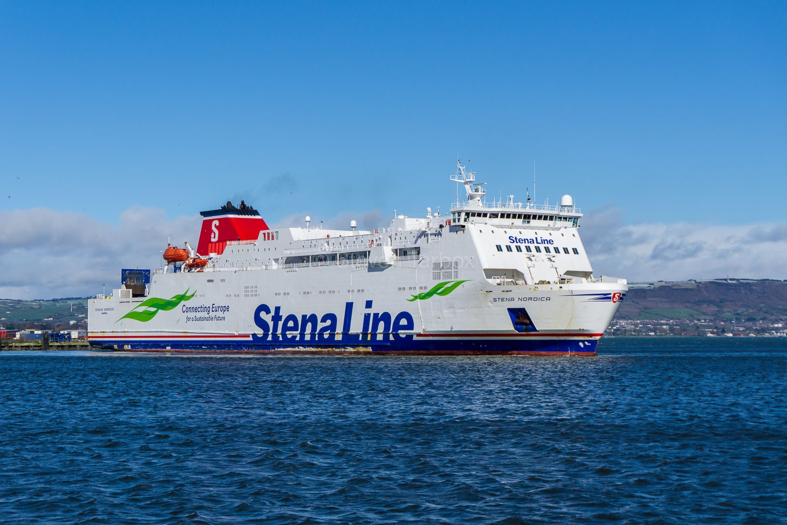 Stena Nordica swings of the berth at Belfast VT4N as she starts another crossing to Cairnryan. She was covering for STENA SUPERFAST VIII which was in Belfast Dry Dock for routine maintenance. March 9th 2019. Copyright © Steven Tarbox.