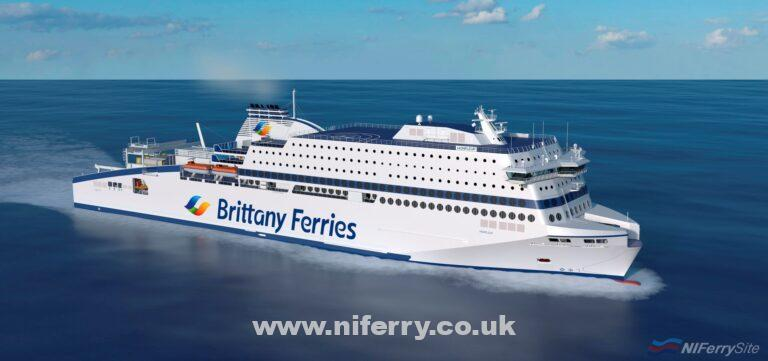 Render of Brittany Ferries HONFLEUR wearing the new livery for the 2019 season. Brittany Ferries.