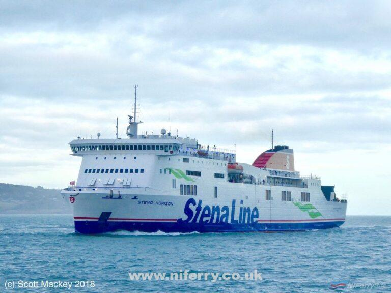 STENA HORIZON seen in March 2018 while covering for STENA ADVENTURER's refit. Horizon herself had recently returned from her own refit at Falmouth were she received the full Stena Line livery for the first time. Copyright © Scott Mackey.