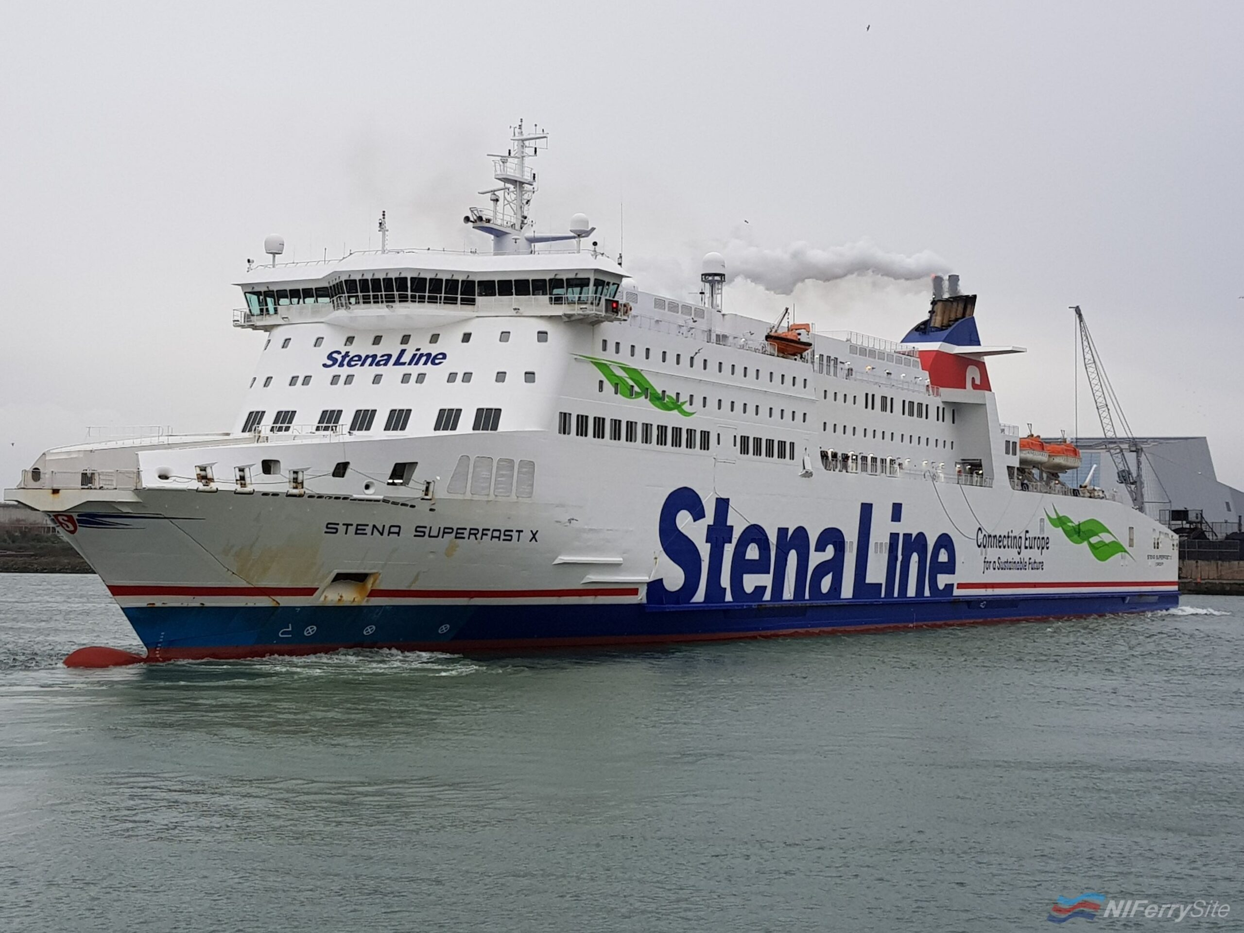 STENA SUPERFAST X seen backing off Dublin Port's Berth 51 during March 2019. Copyright © Robbie Cox.