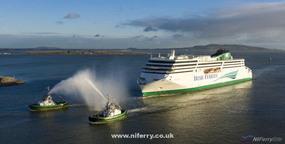 Irish Ferries W.B. YEATS arrives in Dublin Port for the first time, Thursday 20th December 2018, greeted with a water canon 'salute' from two of the port tugs. Copyright © Irish Ferries.